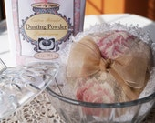 """Powder Puff  Set Shabby Chic (glass powder dish, powder, puff, sifter insert)  """"Tea Stained"""" Vintage Floral"""