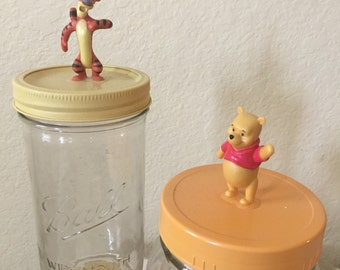 SALE Winnie the Pooh and Tigger Apothecary Jars / two candy jars - ready to ship