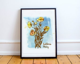 California Poppies- print of an original gouache painting