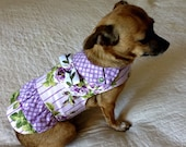 Cotton Dress for Small Dog Purple, Leaf Green, Lavender & White Roses and Stripes, with Collar, Ruffle and Trim - Custom to Fit