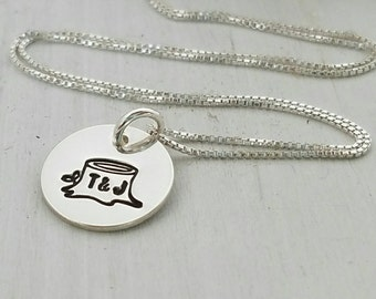 Initials Carved In A Tree Necklace, Sterling Silver, Girlfriend necklace, Wifey Necklace, Initials in a Tree Necklace, Valentines Day Gift