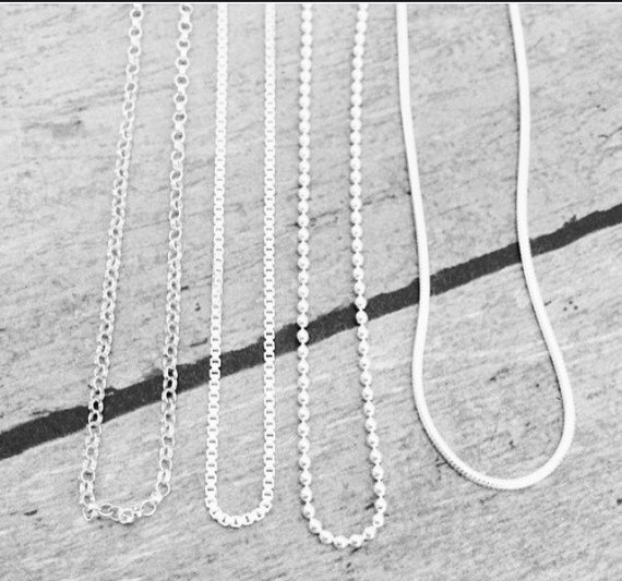 """Solid Sterling Silver, 16"""", 18"""", 20"""", Rolo, Box, Ball, or Snake Chain, Necklace Only, Your choice, Broken necklace replacement, Add on chain"""