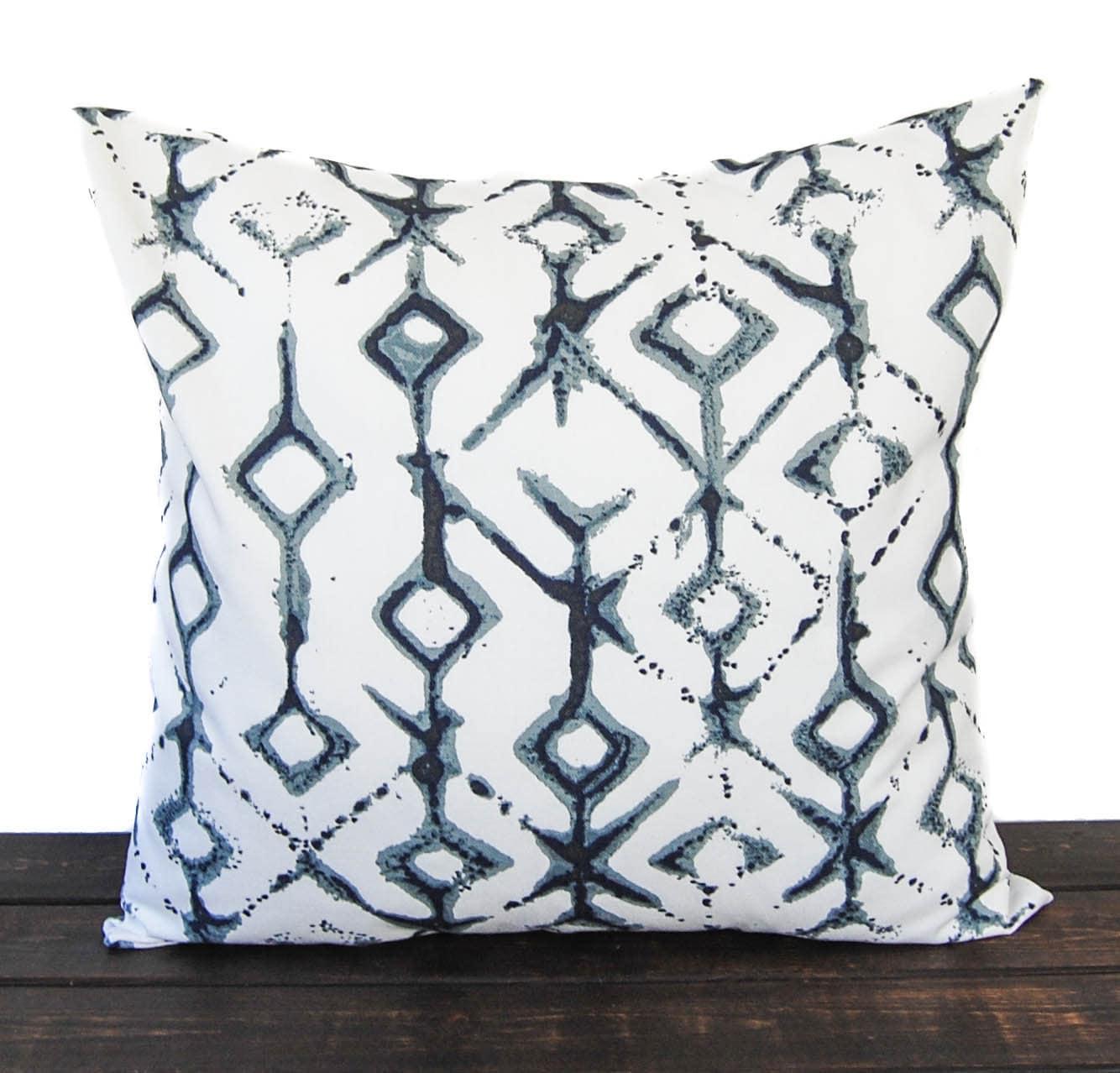 Throw pillow cover Vintage Indigo navy light blue gray white