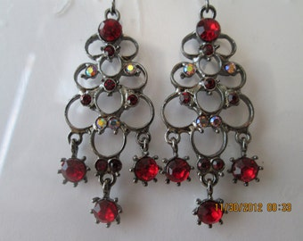 Silver Tone Chandelier Earrings with Red Crystal Dangles and Red and Yellow Rhinestones
