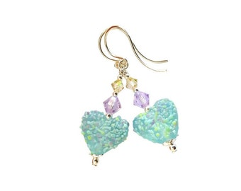Blue Confetti Love Heart lampwork glass earrings with crushed glass, Lavender and Luminous Swarovski crystal, Sterling Silver