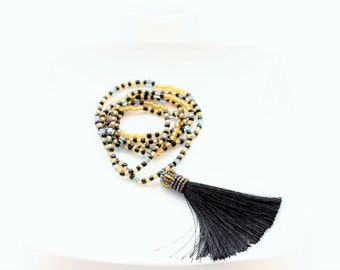Black and Gold Long Tassel Layering Necklace