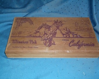 Vintage wooden box made of California Redwood Lumber, which once contained candied fruit.
