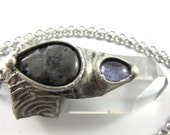 the dark moon - black moonstone & iolite - quartz crystal pendant - larvikite