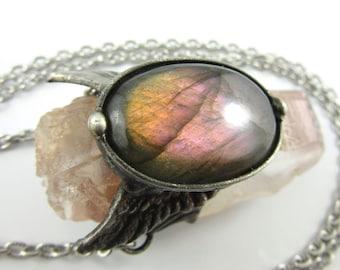 the cherub - purple labradorite & large lithium quartz crystal necklace