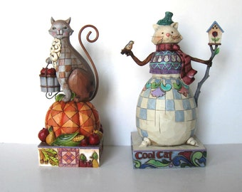"""SALE, Lot of 2 Jim Shore Holiday Cat figurines, Thanksgiving, Pumpkin, Snowman, Christmas decor, instant collection, 8"""" tall, gift idea"""
