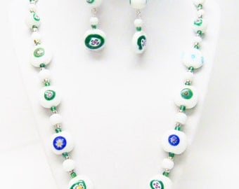 Chunky Assorted White w/Color Glass Bead Necklace/Earrings Set