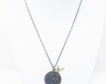 "Antique Bronze Round ""let it go"" Charm Necklace"