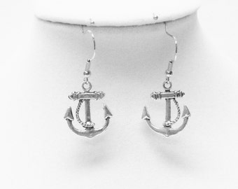 Silver Plated Anchor Earrings