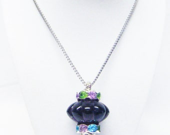 Large Purple Donut w/Grooves Glass Bead on Silver Plated Bead Pin Pendant Necklace