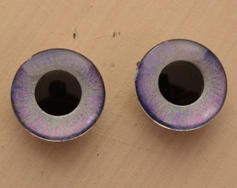 Blythe doll OOAK Purple heather and silver Handpainted eyechips set. realistic, shining, unique, glowing, metallic