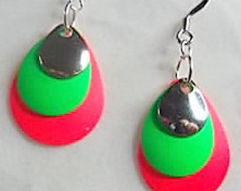 Red,Green, and Silver Teardrop Earrings