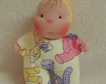 """SALE! Fretta's Pocket Baby Doll. 16 cm / 6.5 """" Waldorf Inspired Miniature Baby Doll.  Soft Sculptured Cloth Baby. Baby's first doll"""