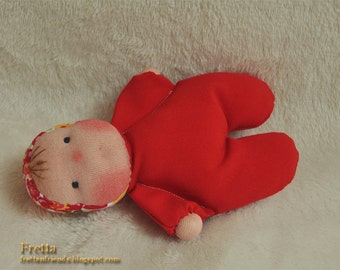 """Fretta's Pocket Baby Doll. 16 cm / 6.5 """" Waldorf Inspired Miniature Baby Doll.  Soft Sculptured Cloth Baby. Baby's first doll"""
