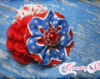 Red, White, Blue Headband, Patriotic Hair Piece, July 4th Hair Accessory, Royal Blue, Fourth of July Hair Clip, Baby Hairbow, Fabric Flower