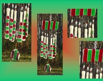 Candy Cane Glass Windchime Christmas Ornament Fused Glass Red Green Stained Glass Holiday Decoration Window Suncatcher