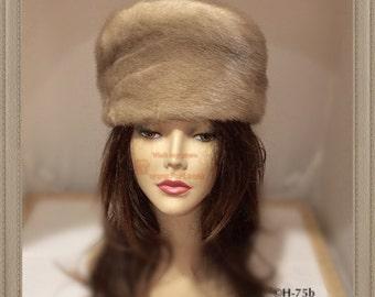 """H-76 Vintage Grey Beige Mink Fur Hat 21-21.5"""""""