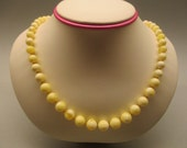 Amber Fashion Necklace 23.86 Gr Round Cream Yellow White Perfect Color Handmade #188