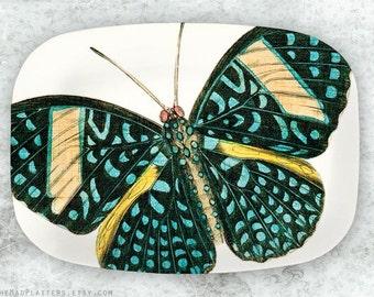 butterfly, Turquoise butterfly melamine platter