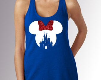 Minnie Mouse Castle Cut Out * Women's Royal Blue Racerback Tank Top * White & RED GLITTER Bow * Disneyland/World Vacation Patriotic America