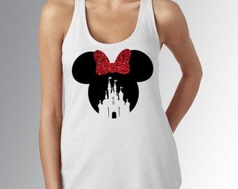 Minnie Mouse Castle Cut Out * Women's White Racerback Tank Top * Black/Red GLITTER Bow * Disneyland/World Vacation Shirt * Run Disney *