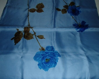 JACQUAR OF LONDON Vintage silk Scarf in Sky Blue with Royal Blue Roses Made in England 1980s