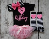 Half Birthday Neon Pink and black Set- Half birthday bodysuit-   1/2 birthday outfit-  birthday bodysuit  neon and black outfit