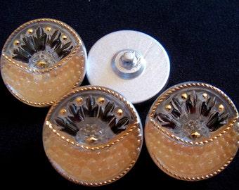 Czech  Glass Buttons  4 pcs  reverse painted  27mm     IVA 069
