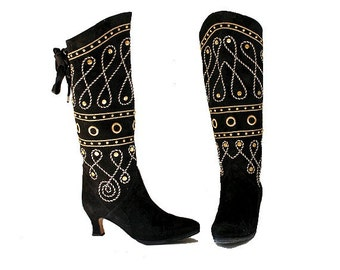 NANDO MUZI suede embroidered BOOTS US7 FR38