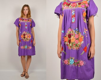 70s Mexican Dress Embroidered Artisan handmade