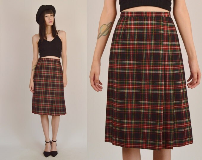 70's Plaid High Waisted Midi Skirt