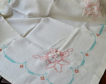 Vintage Linen Luncheon Table Topper, Cross Stitched,  3432