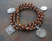 Triple Goddess Rudraksha Mala Prayer Beads w 3 Antique Indian Silver Amulets and Small Pearls - Wrap Bracelet or Necklace