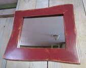 Handmade Rustic Wood Mirror (Barn Red)