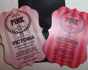 PINK Sweet Sixteen Invitation | Bachlorlette Party Invitation | Bridal Shower Invitation | Bat Mitzvah Invitation