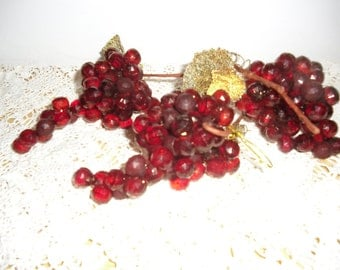 Vintage Lucite Ornaments - Ruby Red Faceted Beads, Grape Cluster, Wire Stems, 1960s Ornaments, Year Round Retro Ornaments, Holiday Decor