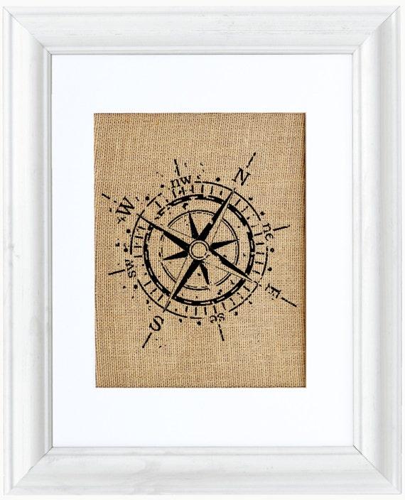 Compass Burlap Art Nautical Art Burlap Print Frame Included