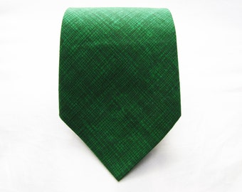 Men's Necktie - Emerald Crosshatch