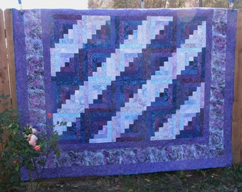 Queen Batik Log Cabin Quilt - Purple Log Cabin - Enchantment with matching pillow cases
