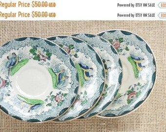 On Sale Mismatched French PV Green Polychrome Transferware Plates Set of 4, French Farmhouse, Game Birds Transfer, Tea Party Plates, Numbere