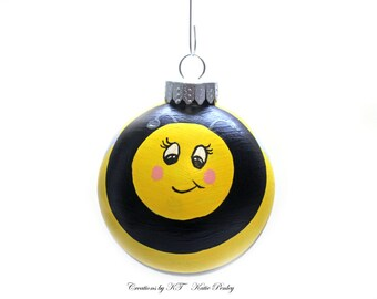 Bee Glass Ornament Hand Painted Bumble Bee Honey Bee Made to Order