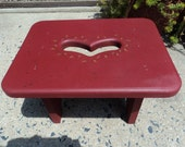 Hand made wooden foot stool/  painted red/ heart carving/perfect for child's room
