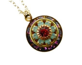 Vintage Swarovski Amethyst, Opal and Tourmaline Necklace