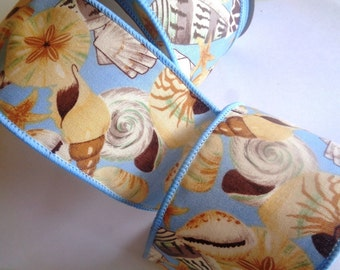 """Shell Island Wide Wired Ribbon, Multi-Blue, 2 1/2"""" inch wide,  1 yard, For Home Decor, Gift Baskets, Victorian & Romantic Crafts"""