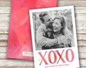 XOXO Sending Love Valentine's Card, Photo Card, Gold Foil, Valentines Day, Valentine, Red, Watercolor