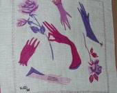 Handkerchief by Kati with Pink and Purple Roses and Gloves